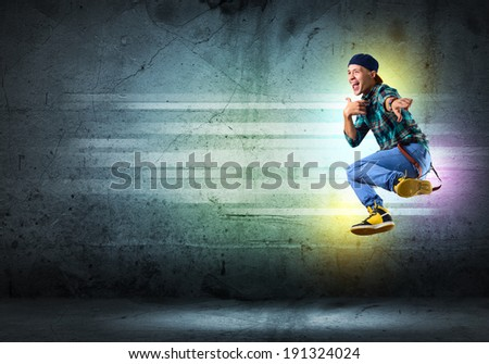 image of a young man dancing hip-hop, collage