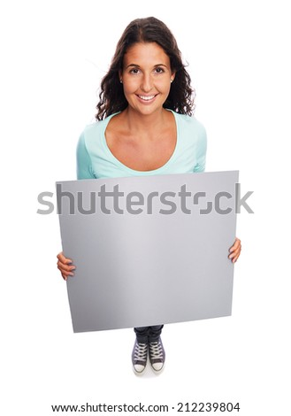 Image of a Young Smiling female Holding blank billboard