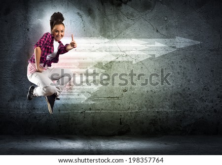image of a young woman dancing hip-hop, collage - stock photo