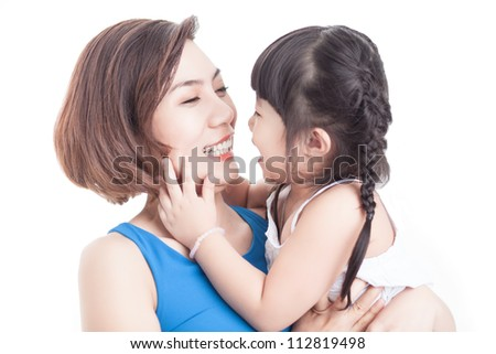 Image of adorable family sharing love and fun - stock photo