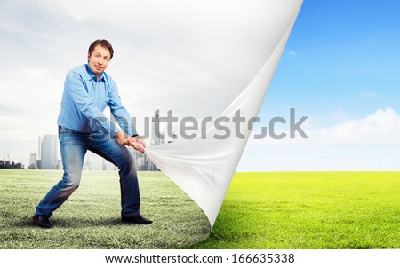 Image of adult handsome man changing reality - stock photo