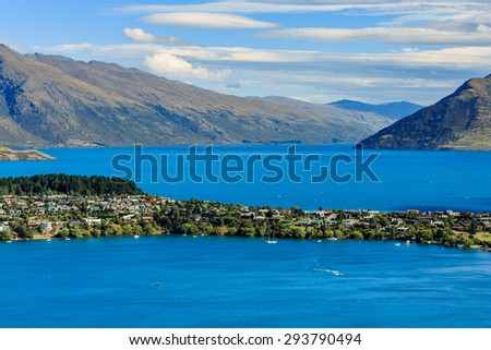 image of Aerial Cityscape View of Queenstown New Zealand - stock photo