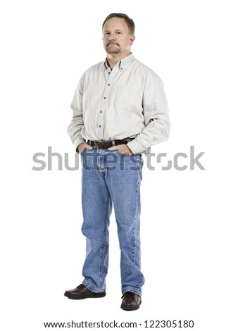Image of aged man standing while hands on pocket against white background