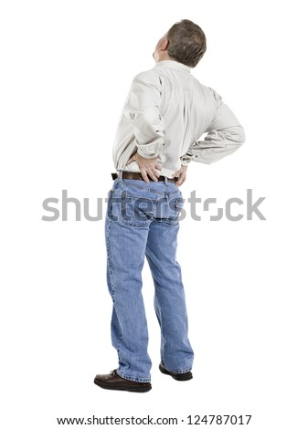 Image of aged man suffering back pain against white background