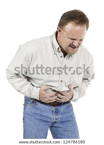 Image of aged man suffering stomach ache against white background