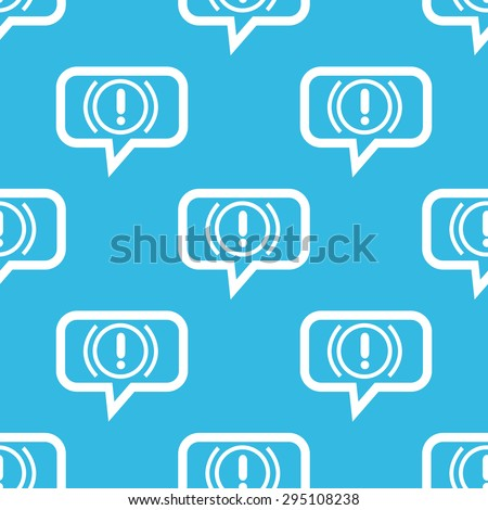 Image of alert sign in chat bubble, repeated on blue background - stock photo