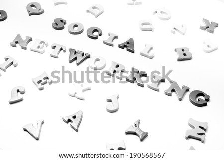 image of alphabets scattered with social networking written in the centre on an isolated vintage background