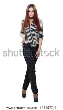 Image of amazing young female fashion model in pants and striped shirt