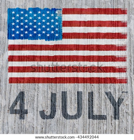 "Image of American flag on concrete texture background. Abstract background for ""4 July"" day of ""United State Of America""."