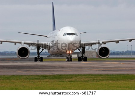 Image of an Airbus A330 at Auckland International Airport - stock photo