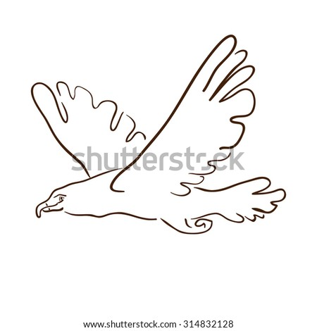 image of an eagle on white background. Image hawk, eagle, vulture, a raven, a bird of prey in flight. Silhouette of birds drawn by hand with pencil, pen. Logo. Icon. Symbol. Profile of a flying bird. - stock photo