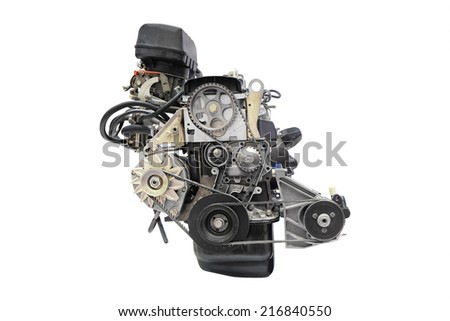image of an engine under the white background - stock photo