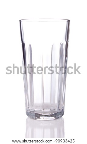 Image of an epty glass with reflection.