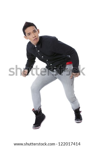 Image of an hip hop dancer doing his cute and funny dance move