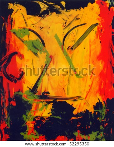 Image of an interesting Abstract painting On Glass In Verso - stock photo