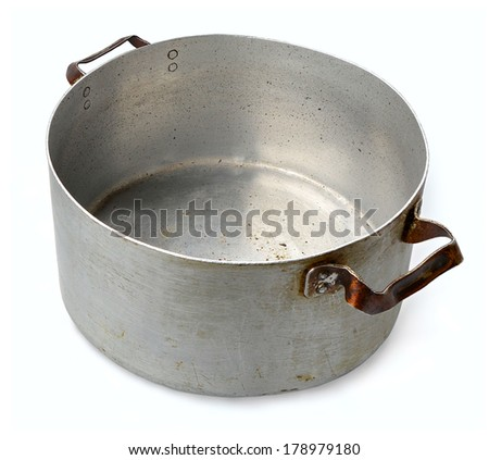 Image of an old aluminum pan isolated on white background - stock photo