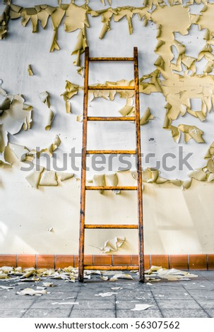 Image of an old wooden ladder in an abandoned building with cracked and peeling paint illuminated by natural daylight and hard shadows.