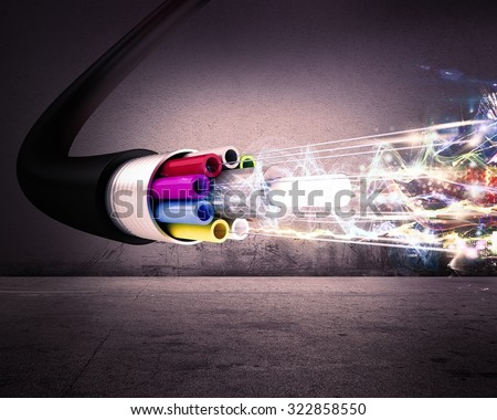 Image of an optical fiber with lights - stock photo