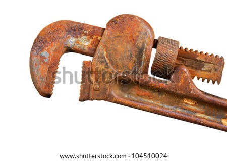 Image of an Vintage isolated Old Pipe Wrench