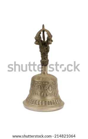 Image of ancient brass hand bell on white background - stock photo