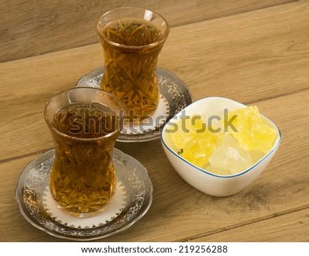 Image of arabic tea with sugar - stock photo