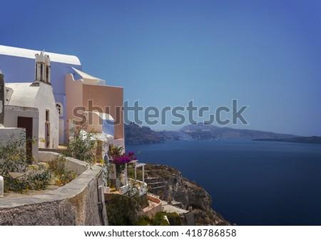 Image of architecture and views on Santorini island, Greece.  - stock photo