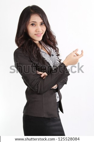 Image of asian business woman in black suit working at office