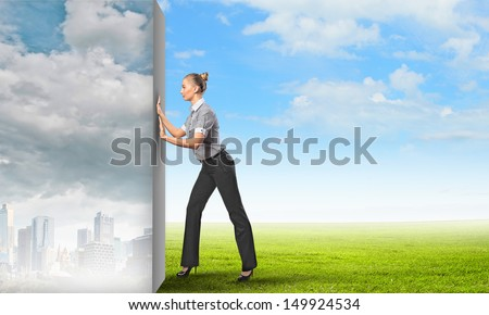 Image of attractive business woman changing reality - stock photo