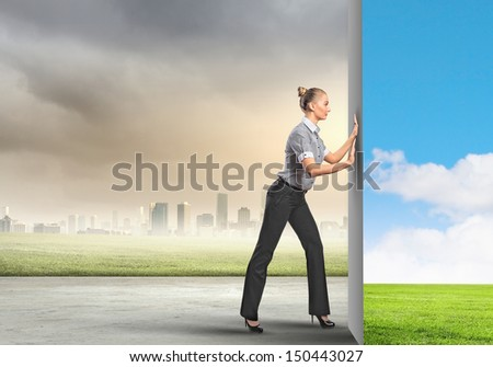 Image of attractive business woman changing reality