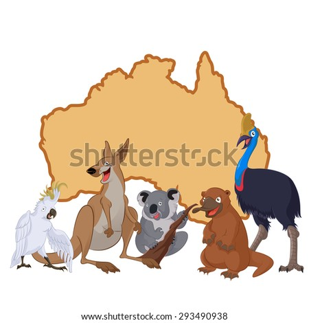 Image of Australia with cartoon animals - stock photo