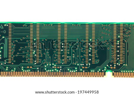 image of back view of memory module - stock photo