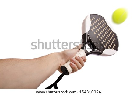 Image of ball, racket and hand isolated on white. - stock photo