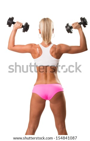 Image of beautiful athletic woman from back, doing exercise