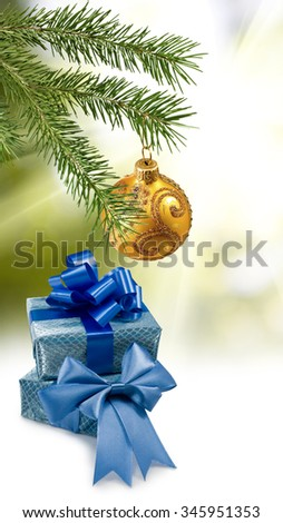 image of beautiful Christmas decorations and gift boxes