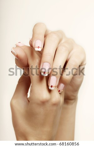 Image of beautiful hands with beautiful nails - stock photo
