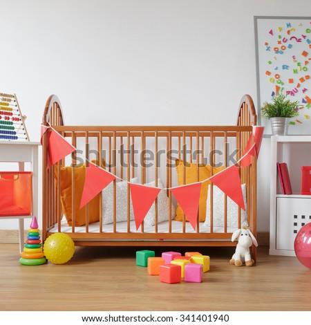 Image of beautiful light room for newborn child - stock photo