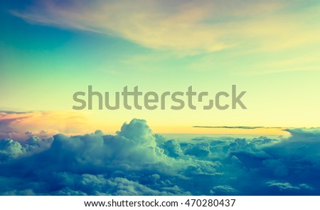 Image of beautiful sky on evening time for background usage. (vintage tone)