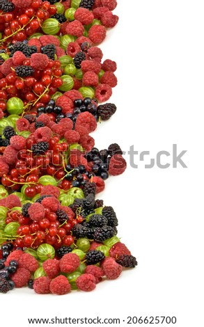 image of  berries on a white background closeup - stock photo