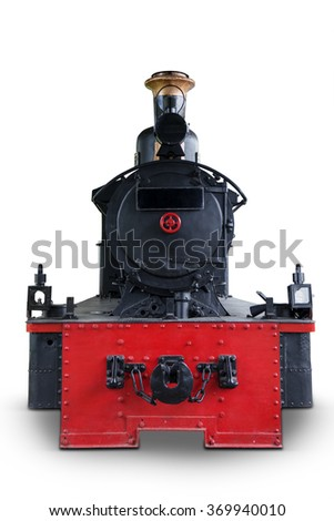 Image of black red steam locomotive, isolated on white background - stock photo
