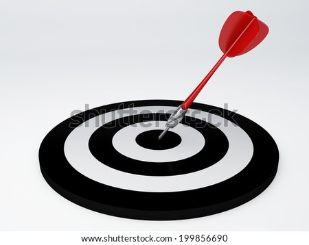 image of  black target with darts. success hitting. 3d illustration