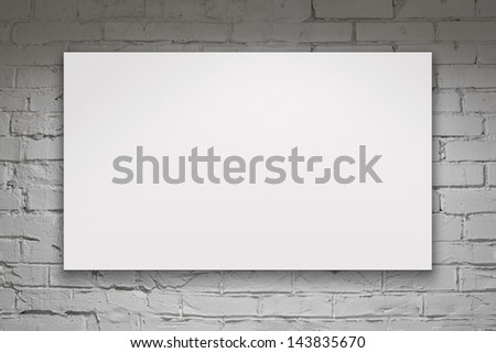 Image of blank billboard over white brick wall - stock photo