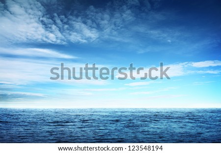 Image of blue sky and sea - stock photo