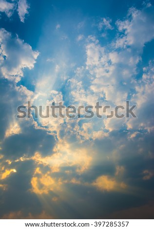 image of blue sky with white clouds on day time for background.