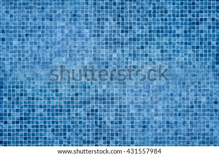 Image of blue square mosaic in swimming pool as textured background. - stock photo