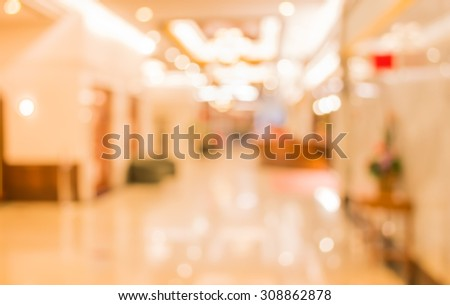 image of blur corridor and elevator  in hotel  ,for background usage . - stock photo