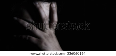 image of blur Different types of hands off face the desperate tone dark. - stock photo