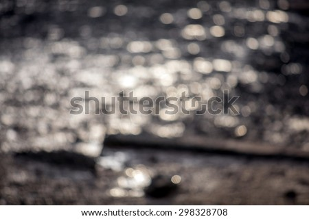 image of blur sea and canel bokeh in sunset  time with warm colo - stock photo