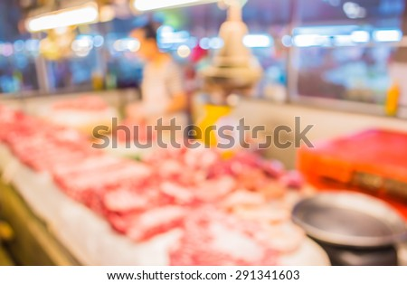 image of blur thailand market with bokeh for background usage .