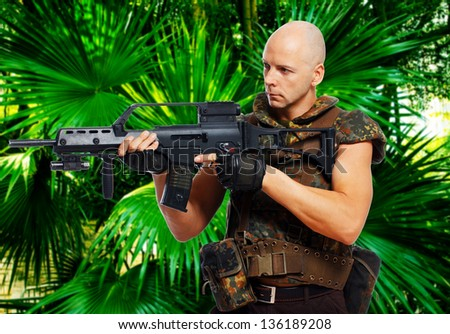 Image of bold soldier who is on the mission - stock photo