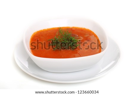 Image of bowl of hot red soup isolated on white background - stock photo
